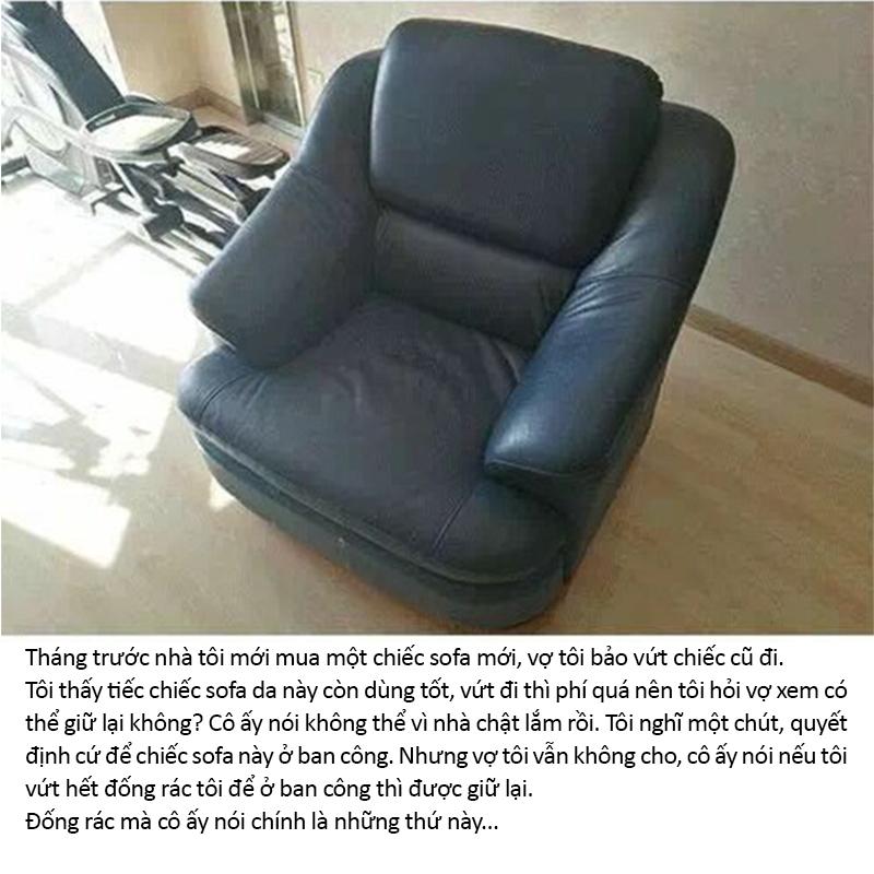 Người vợ không đồng ý cho chồng giữ lại chiếc sofa cũ (Ảnh: Weibo)