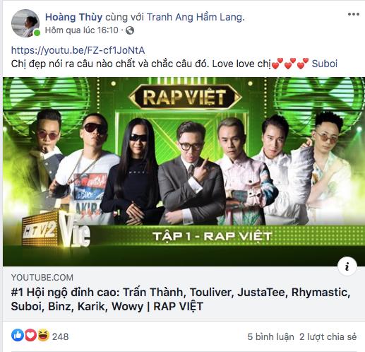 """Hoàng Thùy cuồng """"Rap Việt"""" chỉ vì cóidol Suboi (Ảnh: Chụp màn hình). - Tin sao Viet - Tin tuc sao Viet - Scandal sao Viet - Tin tuc cua Sao - Tin cua Sao"""