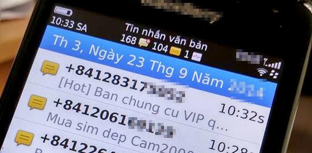 Một số tin nhắn rác trong điện thoại của người dùng. (Ảnh: Dân Trí)