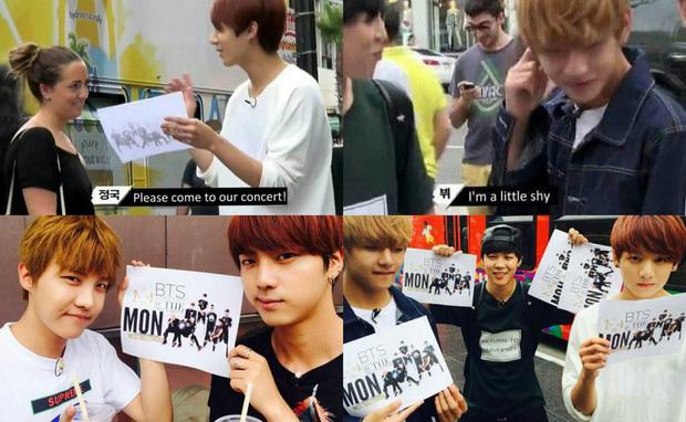 BTS từng phải phát tờ rơi để mời từng người đến dựconcert miễn phí (Ảnh: Big Hit)