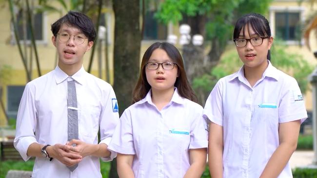 Các bạn Nguyễn Trần Ngọc Khánh, Đàm Minh Tuệ và Bùi Hoài An. (Ảnh: VTV)