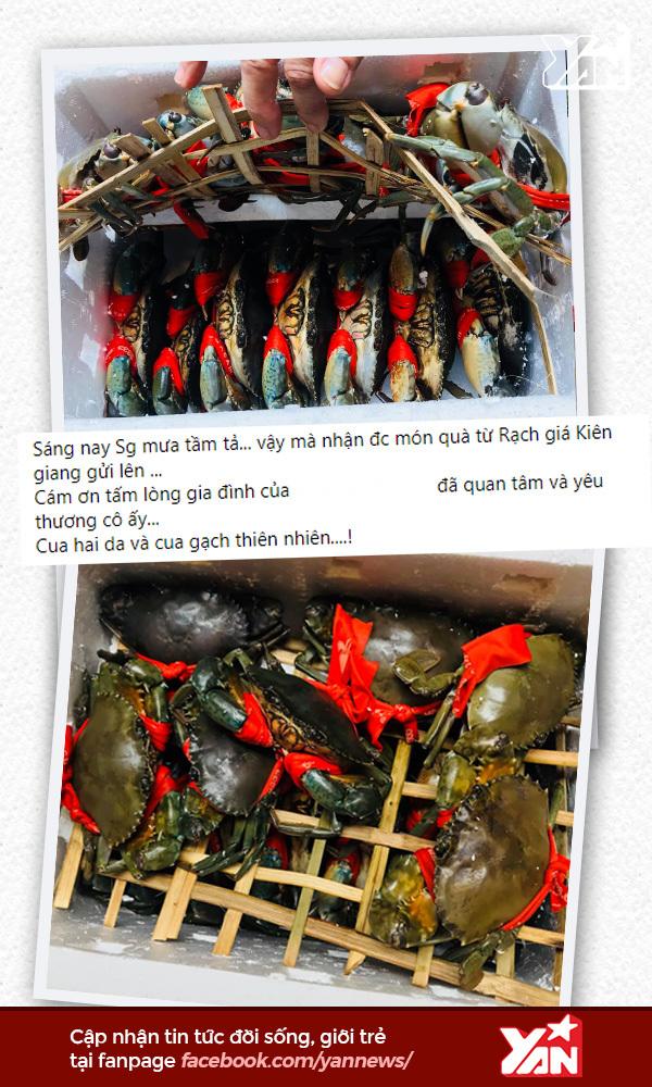 Một thùng cua được đóng gói kĩ lưỡng và gửi từ xa hàng trăm cây số mới đến nơi. (Ảnh: FBNV) - Tin sao Viet - Tin tuc sao Viet - Scandal sao Viet - Tin tuc cua Sao - Tin cua Sao