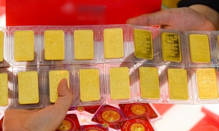 Vàng miếng được giao dịch ở mức dưới 56 triệu đồng/lượng cả 2 chiều mua vào - bán ra (Ảnh: Thời Đại)