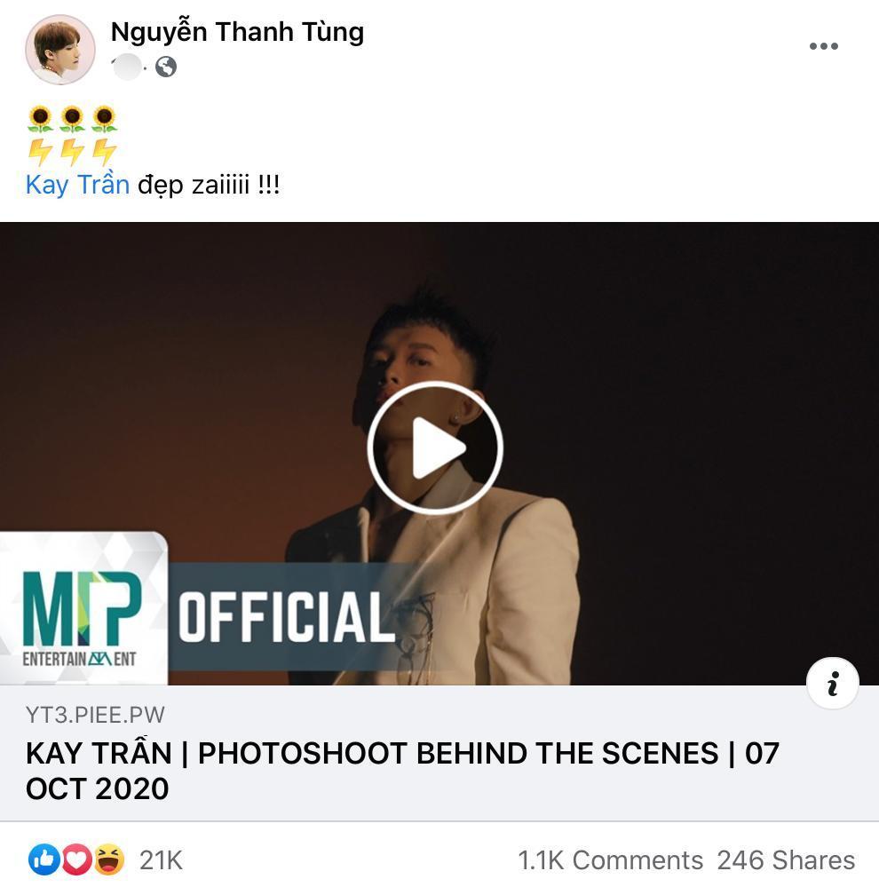Chủ tịch Nguyễn Thanh Tùng khen Kay Trần. Ảnh: Chụp màn hình