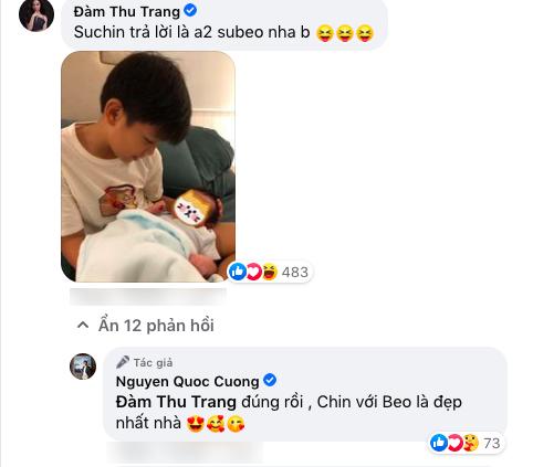 """Đàm Thu Trang đã có câu trả lời """"đi vào lòng người"""", lưu sẵn ảnh của con trai và càng khẳng định thêm tình cảm cũng như độ thân thiết giữa """"chân dài"""" và Subeo. (Ảnh: FBNV) - Tin sao Viet - Tin tuc sao Viet - Scandal sao Viet - Tin tuc cua Sao - Tin cua Sao"""