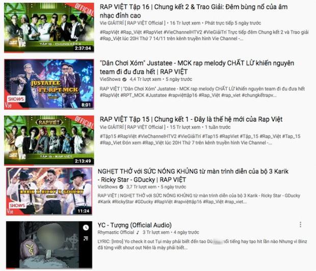 """Những video đang """"thống trị"""" YouTube đều có sự góp mặt của Rhymastic. (Ảnh: Chụp màn hình). - Tin sao Viet - Tin tuc sao Viet - Scandal sao Viet - Tin tuc cua Sao - Tin cua Sao"""