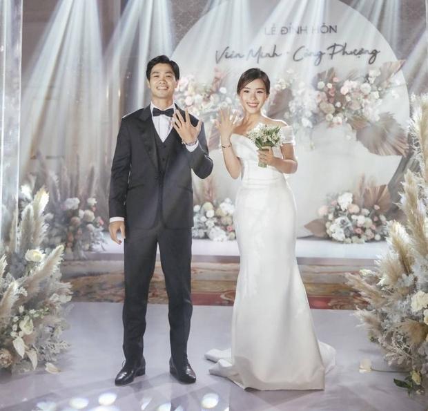 Công Phượng và Viên Minh trong lễ đính hôn hồi tháng 6. (Ảnh: Instagram Công Phượng)