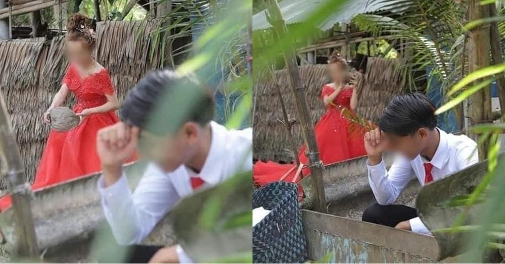 Loạt bức ảnh cưới gây xôn xao mạng xã hội của một đôi trẻ. (Ảnh: FB DD)