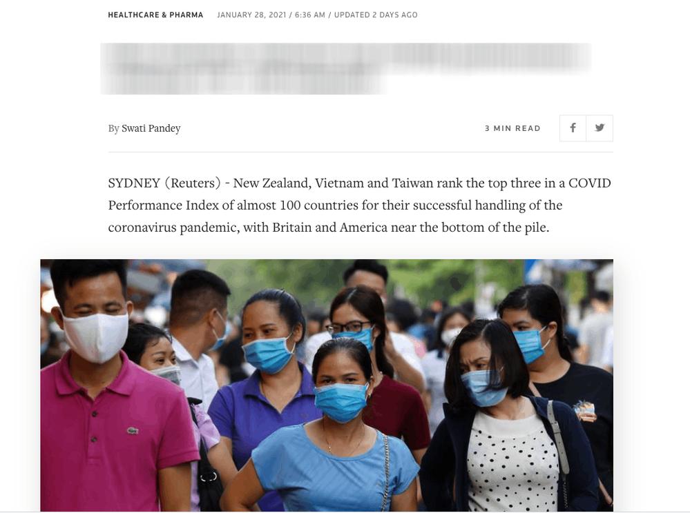 Bài đăng của Reuters về bảng xếp hạngcác quốc gia xử lý và kiểm soát dịch đứng đầu thế giới (Nguồn:Reuters)