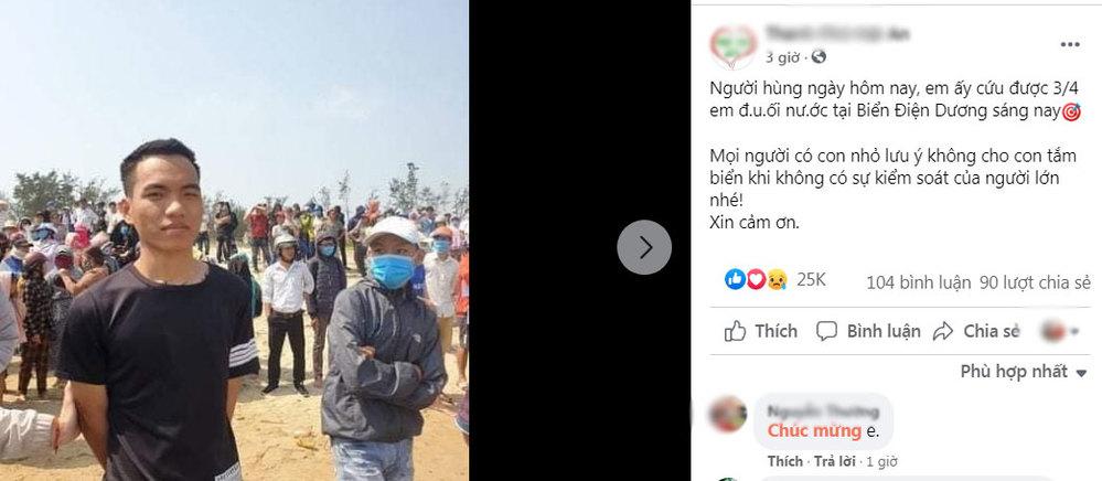 Bài viết về hành động dũng cảm của cậu bạn Trần Văn Tròn ngay sau khi đăng tải lên mạng nhận được sự quan tâm của rất nhiều người. (Ảnh: Chụp màn hình)
