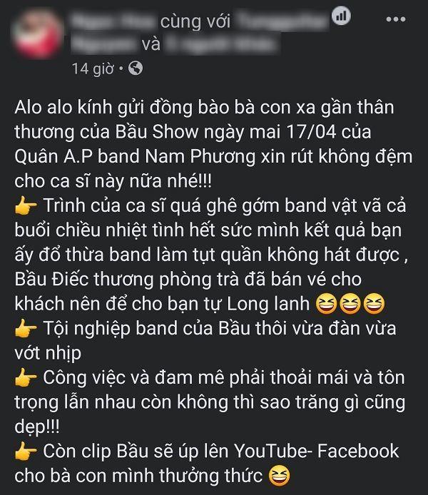 """Band nhạc Nam Phương """"tháo chạy"""" sau một buổi làm việc với Quân A.P. (Ảnh: Facebook)"""