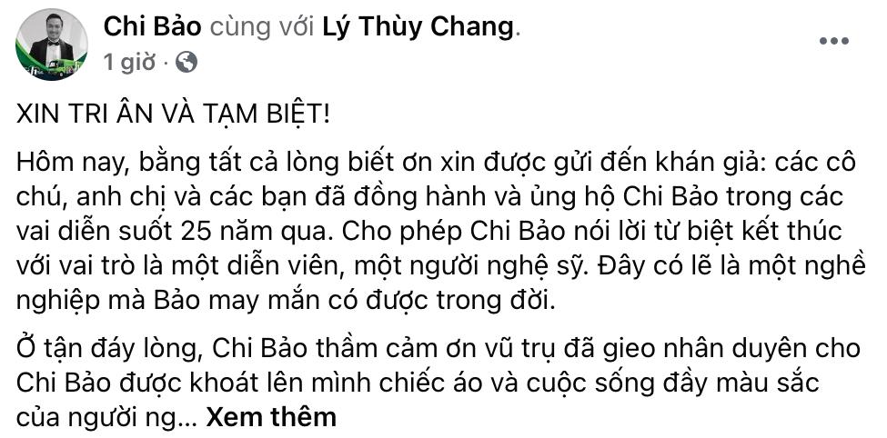 Chi Bảo đăng trên trang cá nhân tuyên bố chính thức dừng hoạt động nghệ thuật sau 25 năm. (Ảnh: Chụp màn hình) - Tin sao Viet - Tin tuc sao Viet - Scandal sao Viet - Tin tuc cua Sao - Tin cua Sao