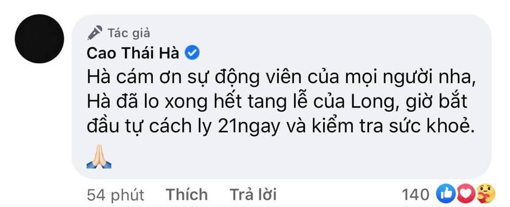 Cao Thái Hà tâm sự cùng người hâm mộ sau đám tang bạn thân. (Ảnh: Chụp màn hình)