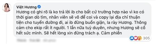 Việt Hương cũng thông báo không nhận tin nhắn hỗ trợ bởi vì đội ngũ ê-kíp quá ít. (Ảnh: Chụp màn hình) - Tin sao Viet - Tin tuc sao Viet - Scandal sao Viet - Tin tuc cua Sao - Tin cua Sao