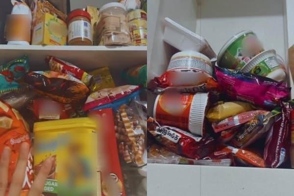 Cô mua nhiều snack và đồ ăn liền. (Ảnh: Chụp màn hình)