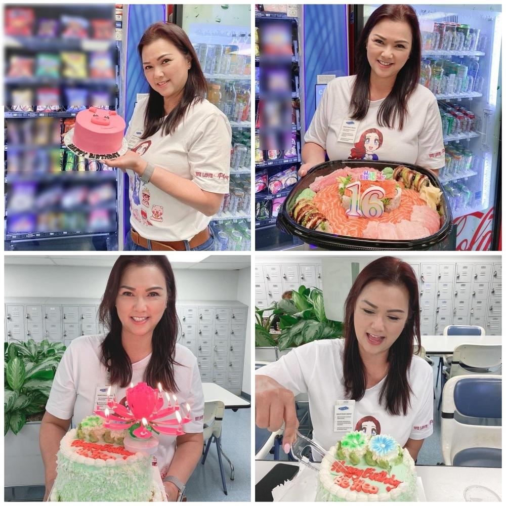 Cô được tặng nhiều chiếc bánh sinh nhật đặc biệt. (Ảnh: FBNV) - Tin sao Viet - Tin tuc sao Viet - Scandal sao Viet - Tin tuc cua Sao - Tin cua Sao