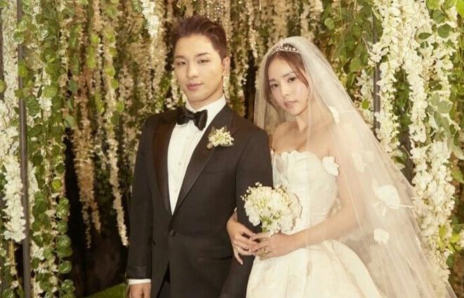 Hôn lễ hạnh phúc của Taeyang và Min Hyorin luôn là huyền thoại trong K-pop. (Ảnh: Twitter)