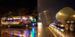 Hà Nội: Xe khách biến dạng kinh hoàng sau khi va chạm với xe bồn