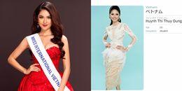 Mặc váy 'đụng' loạt mỹ nhân Việt, Á hậu Thuỳ Dung vẫn tỏa sáng trên trang chủ Hoa hậu Quốc tế 2017