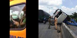 Công an đã tìm ra xe đầu kéo container do tài xế điều khiển bằng chân và nói chuyện điện thoại