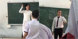 Thầy giáo Tây đội tóc giả, mặc áo dài cosplay làm cô giáo khiến dân mạng