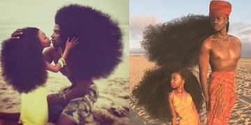 Gen di truyền quá mạnh mẽ, mái tóc xù bông của hai cha con gây chú ý đặc biệt